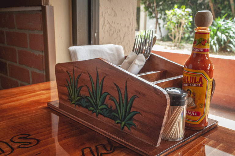 Table caddy at Tacos San Miguel